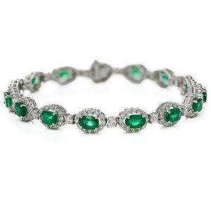 Jewelry - Oval Cut Emerald With Diamond Women Tennis Bracele